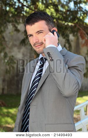 on the phone outdoor