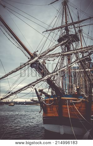 Endeavour Ship In Darling Harbour, Sydney, Australia