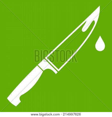 Steel knife icon white isolated on green background. Vector illustration