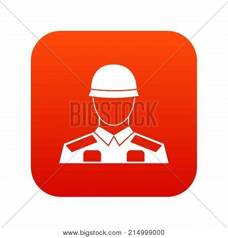 Soldier icon digital red for any design isolated on white vector illustration