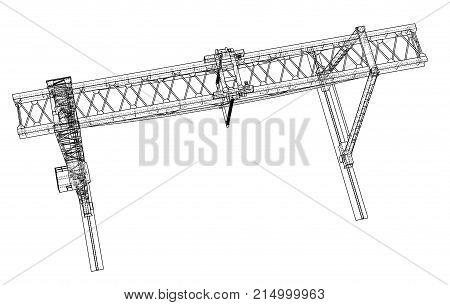 Gantry crane. Wire-frame. Vector EPS10 format. Vector rendering of 3d