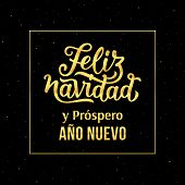 Feliz Navidad e Prospero Ano Nuevo 2018 spanish text Happy New Year and Merry Christmas. Vector greeting card with gold typography text and glitters on black background for winter holidays season. poster