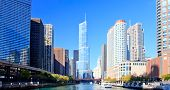 Chicago Financial District panoramic along the Chicago River poster
