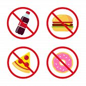 No junk food icons: sugary soda drink burger pizza and donut. Crossed prohibition circles on separate layer. Healthy dietary habits vector illustration. poster