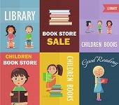 Bookstore sale and children library with small readers holding color textbooks vector illustration concept of six posters. poster