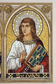 Saint John the Evangelist, mosaic on the church altar poster