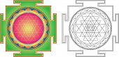 Vector Shri Yantra (or Sri Yantra) for Meditation . Color and contour image poster