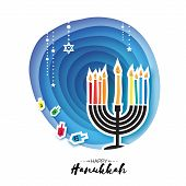 Origami Happy Hanukkah. Greeting card for the Jewish holiday. Menorah traditional candelabra and burning candles Hanukkah dreidel with letters of the Hebrew alphabet. Star of David. Paper cut style. Vector poster