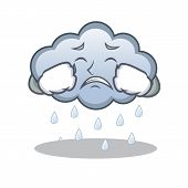 Crying rain cloud character cartoon vector illustration poster