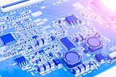 Circuitboard with resistors microchips and electronic components. Electronic computer hardware technology. Integrated communication processor. Information engineering component. Semiconductor. PCB. poster
