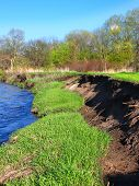 River bank erosion often occurs along meander bends such as this one in the Kishwaukee River in northern Illinois poster