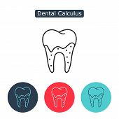 Dental calculus with bacteria image. Tartar or calculus teeth outline vector icon. Dental concept. Medicine symbol for info graphics, websites and print media. Editable stroke. poster