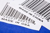 Made in China or USA and barcode business concept poster