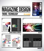 Magazine Layout Design Template with Cover + 8 pages (4 spreads) of Contents Preview. poster