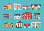 Set of different colorful suburban houses and cottages, family vacation houses, mansion, real estate in rural area. Facade apartment house. Vector illustration isolated. poster