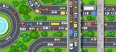 Top view of city map. Crossroads of urban streets with traffic automobile and a lot of cars with traffic jam congestion poster
