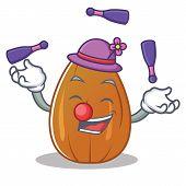 Juggling almond nut character cartoon vector illustration poster