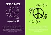 Peace day September 21, two pictures concerning holiday presenting symbols and filling form for text isolated on green and purple vector illustration poster