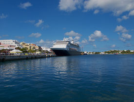 Cruise Ship Docked In Town