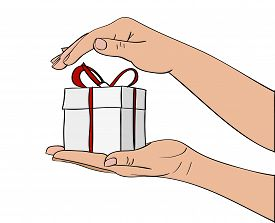 Congratulation, hand drawign gift box in hands