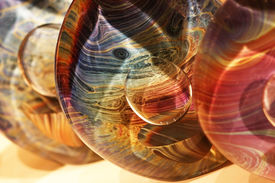 Beautiful glass with moire coloring from the Venetian island of Murano, Italy.