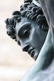 Bronze statue of Perseus (1545-1554), by Benvenuto Cellini, in Loggia de' Lanzi, Piazza della Signoria, Florence