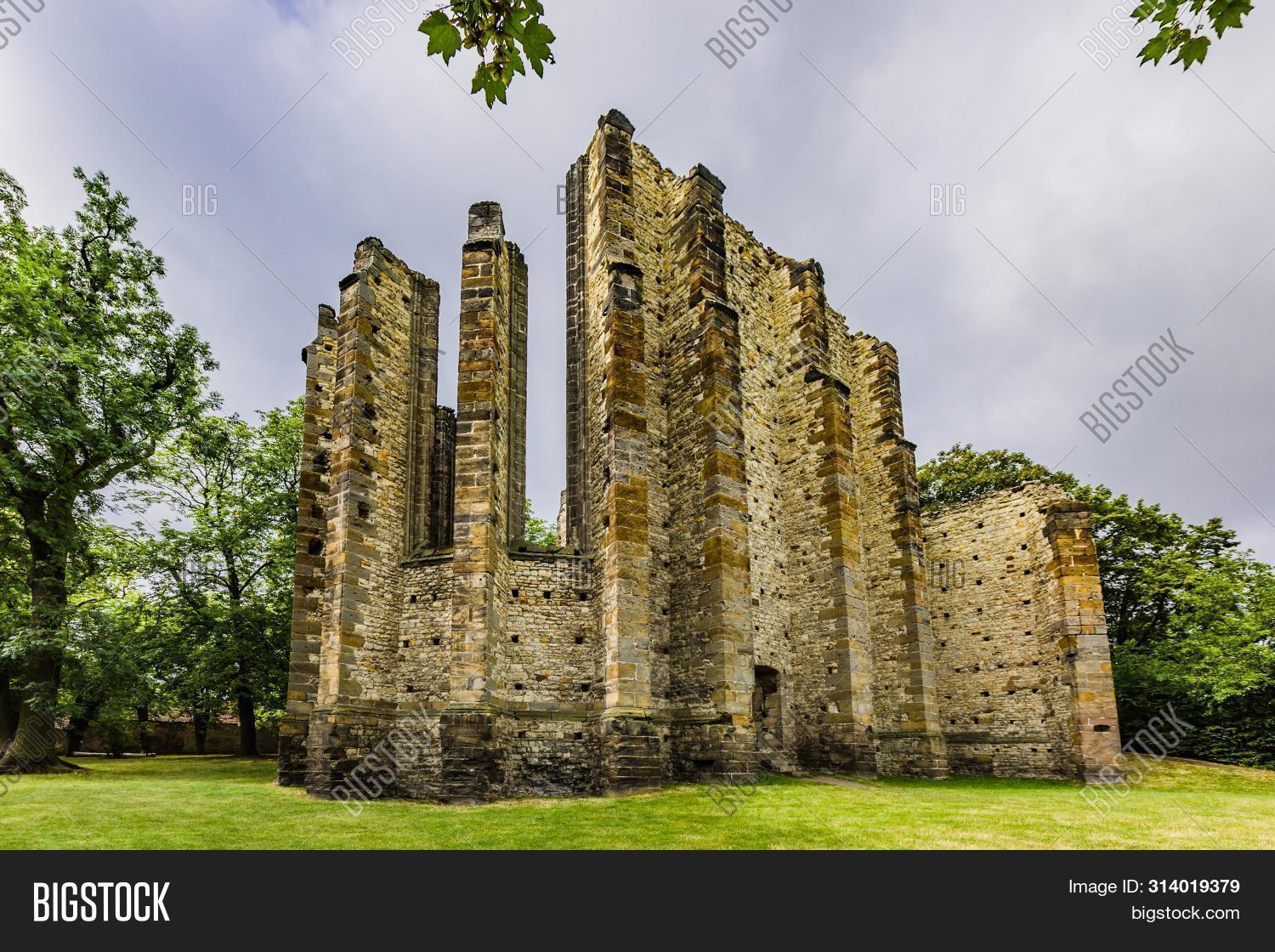 Panensky Tynec, Czech Republic - July 15 2019: Ruins Of The Unfinished Gothic Church Of The V. Mary