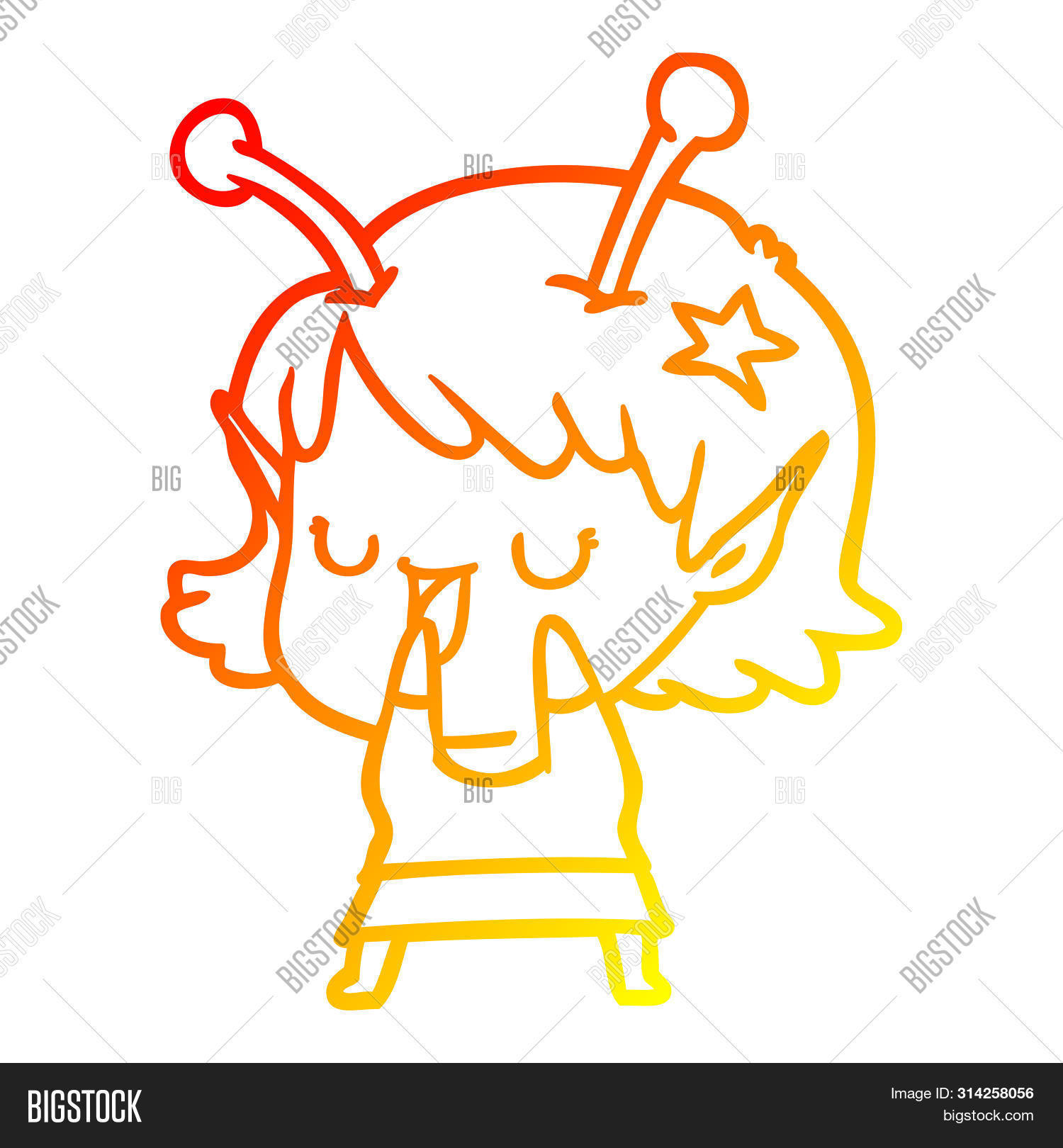 warm gradient line drawing of a happy alien girl cartoon