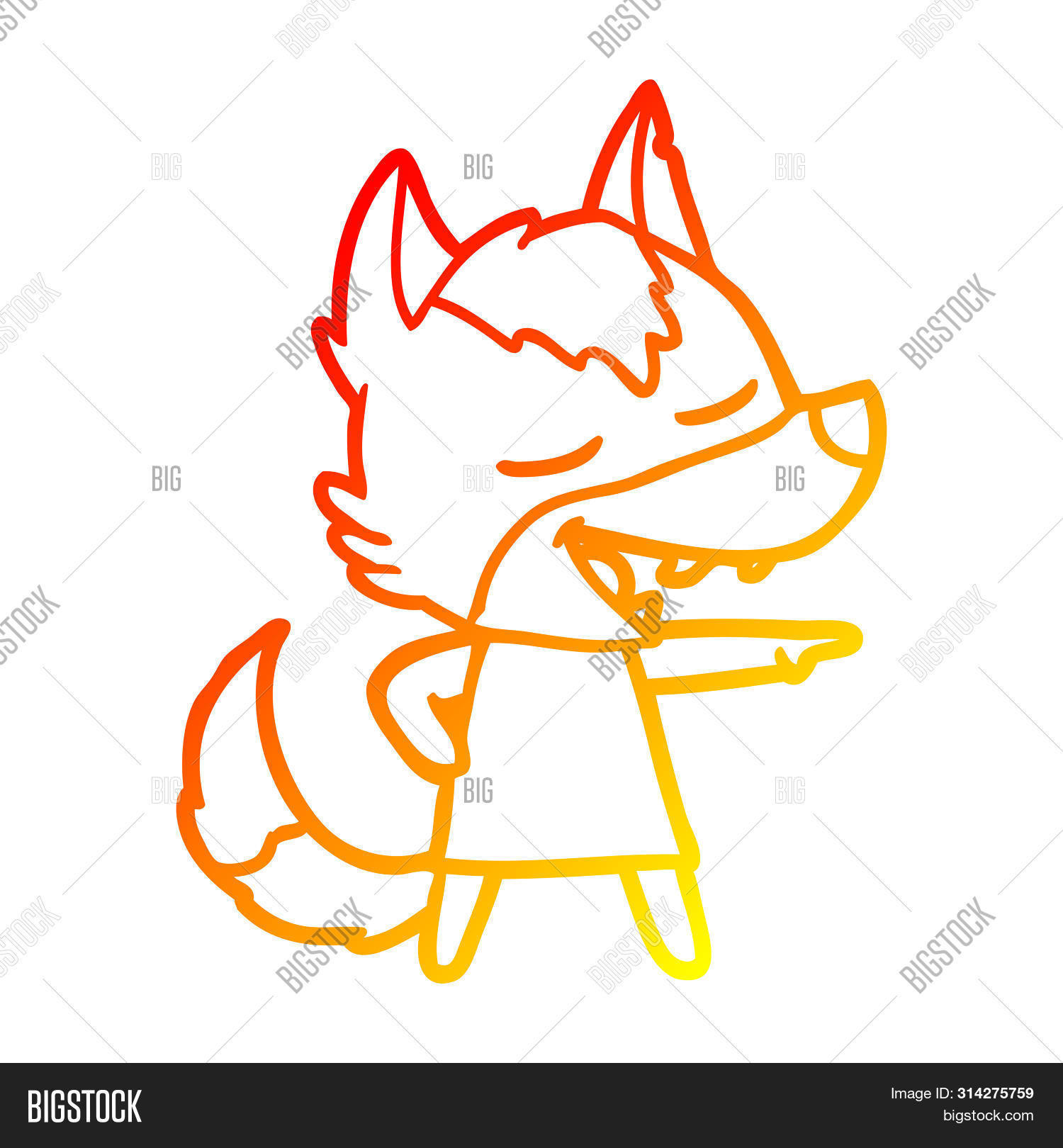 warm gradient line drawing of a cartoon wolf laughing