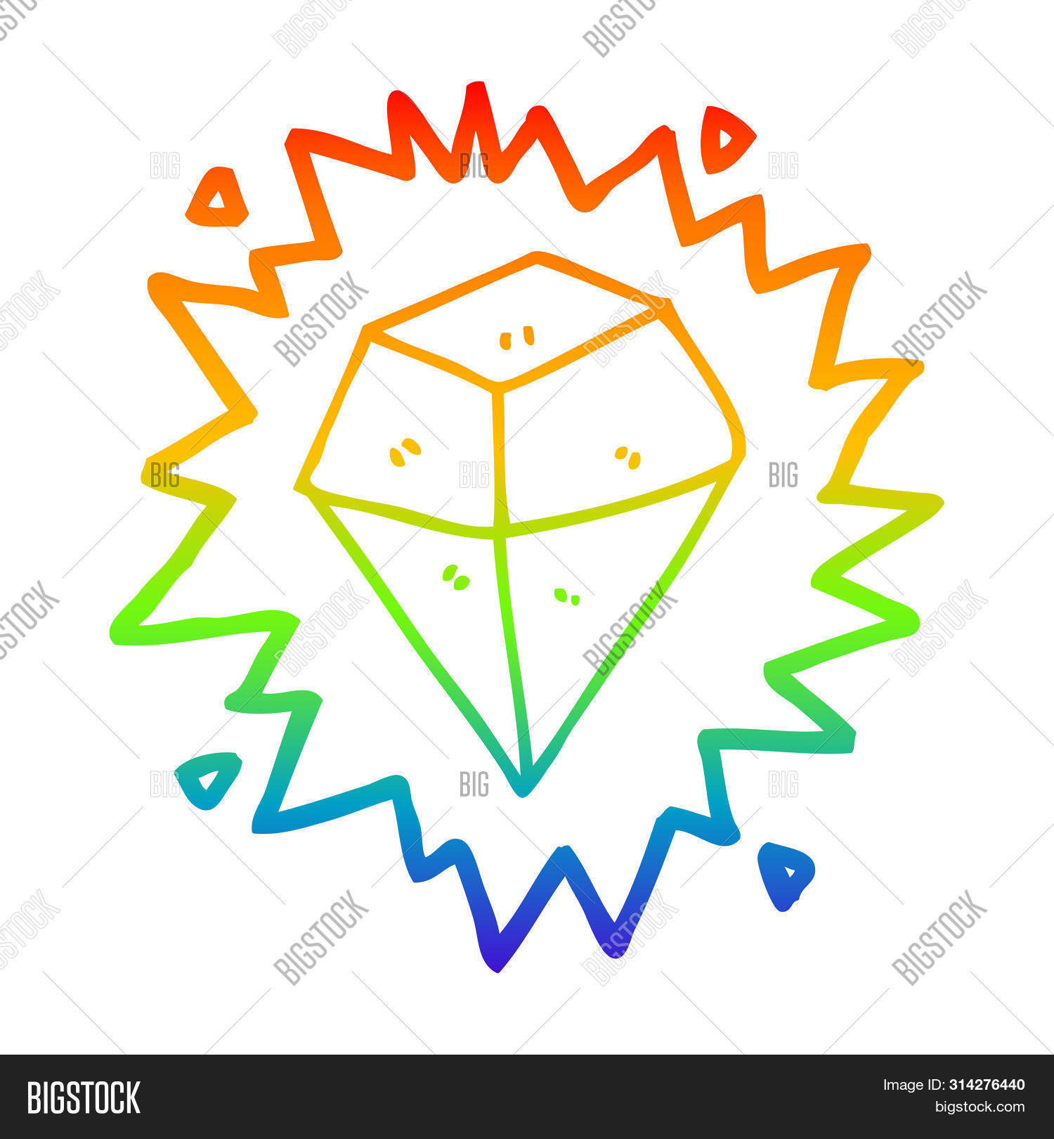 rainbow gradient line drawing of a cartoon shining crystal
