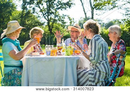 Senior Friends Having Picnick With Coffee And Cake Outdoors In Sunshine.
