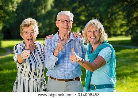 Three Senior Friends Showing Optimism.