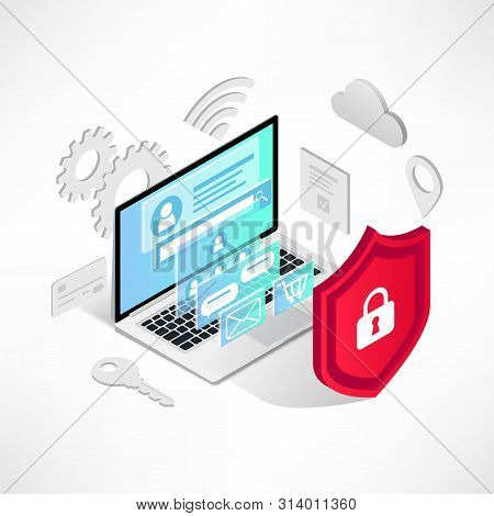 Isometric Internet Security Concept. Data Protection Vector Illustration With Laptop, 3d Screen, Ico