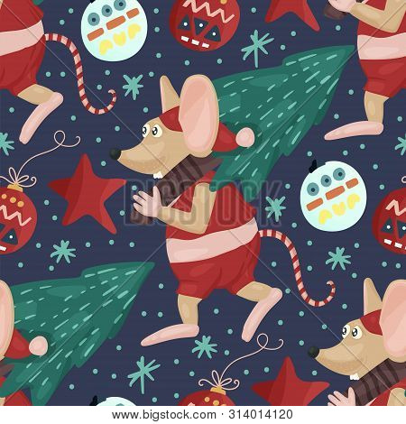 Christmas Vector Mouse Seamless Pattern. Cartoon Holiday Illustration With Cute Rat And Fir Tree.