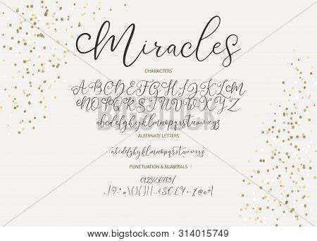Hand Drawn Vector Alphabet Abc Font With Letters, Numbers, Symbols. For Calligraphy, Lettering, Hand