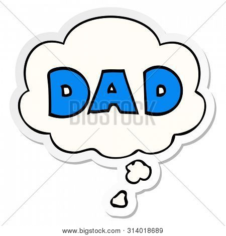 cartoon word dad with thought bubble as a printed sticker