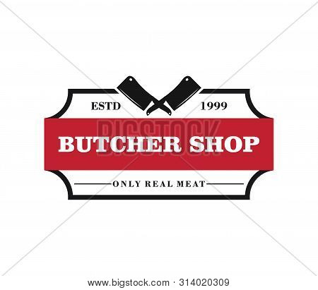 Butcher Meat Shop Product Logo With Crossed Cleaver Silhouette