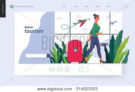 poster of Medical tourism - medical insurance template -modern flat vector concept digital illustration - a young woman in the airport going to flight departure for the treatment abroad, medical toursm metaphor