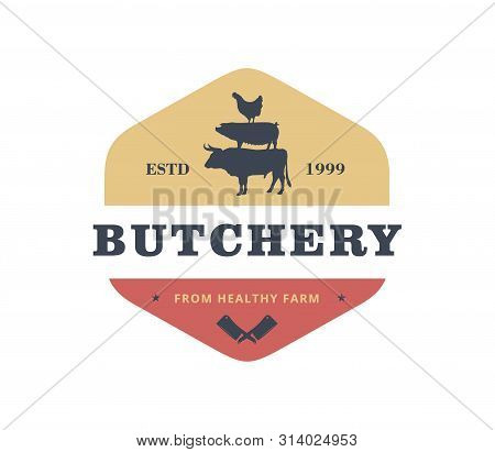Butcher Meat Shop Product Logo With Crossed Cleaver, Cow, Pig, Hen Silhouette