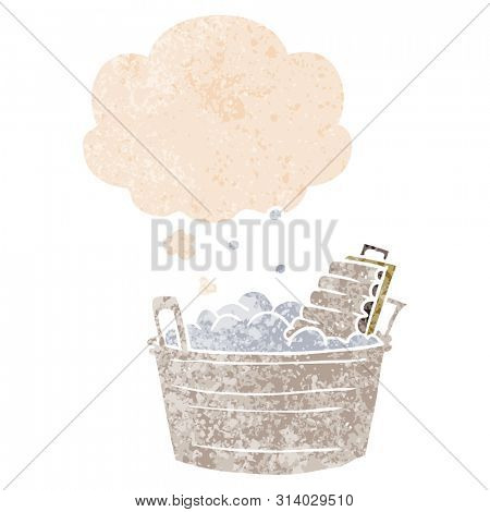 cartoon old washboard and bucket with thought bubble in grunge distressed retro textured style