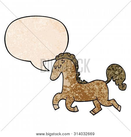 cartoon horse running with speech bubble in retro texture style