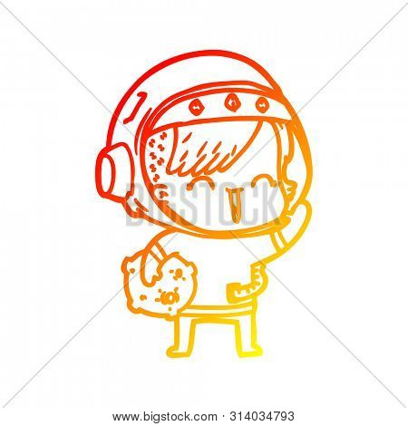 warm gradient line drawing of a cartoon happy spacegirl holding moon rock