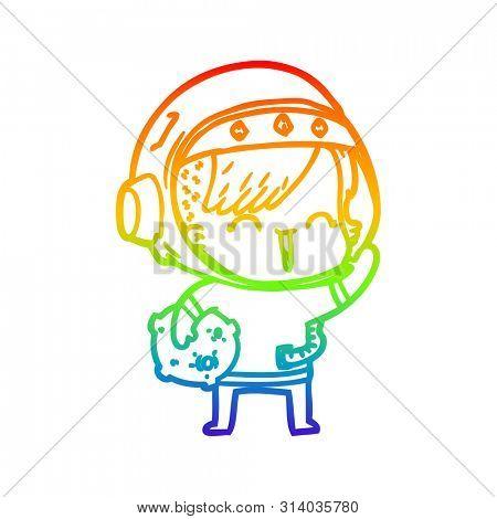 rainbow gradient line drawing of a cartoon happy spacegirl holding moon rock