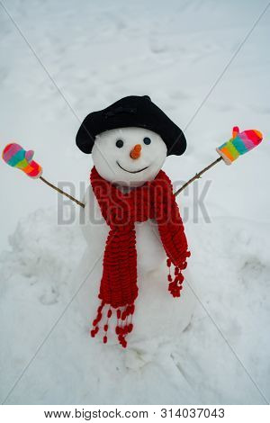 The Morning Before Christmas. New Year Greeting Card. Snowman Wish You Merry Christmas. Happy Winter