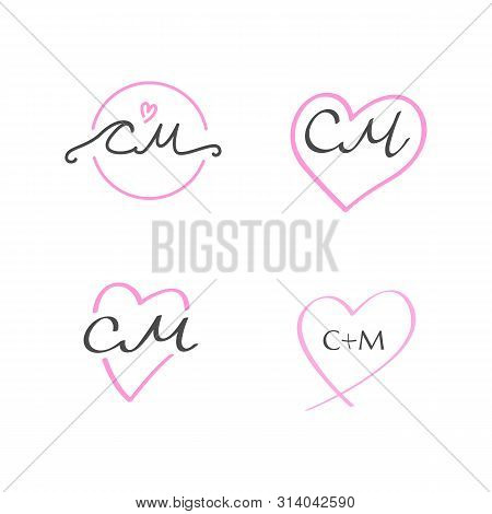 The Set Of Lovely Wedding Hand-drawn C M Monograms With A Heart Shape. Cm Initials Feminine Letterin
