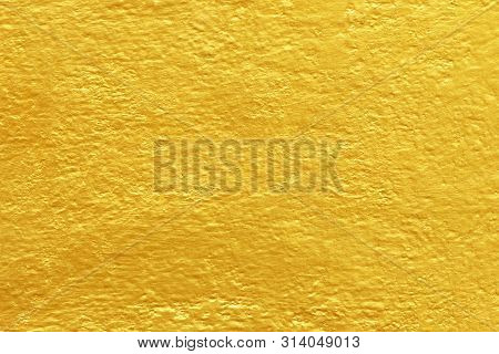 Concrete Gold Painted Texture Abstract For Background, Shiny Yellow Gold Texture Background