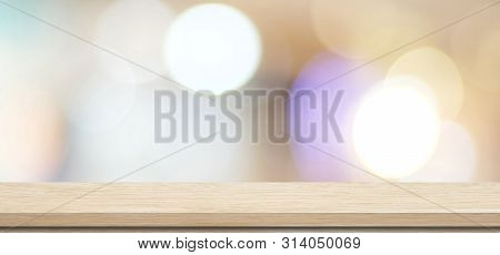 Wooden Table, Tabletop, Desk Over Blur Store With Bokeh Light Background, Empty Wooden Shelf, Counte