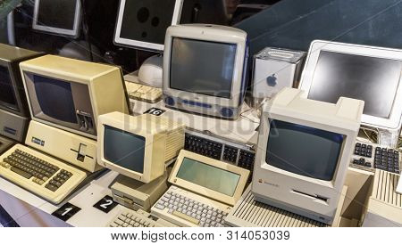 Istanbul, Turkey, 23 March 2019: Apple Macintosh Classic Personal computer Old original computer with keyboard on display in a Rahmi Koc museum, detailing the advancement of technology