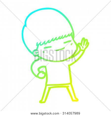 cold gradient line drawing of a cartoon smug boy