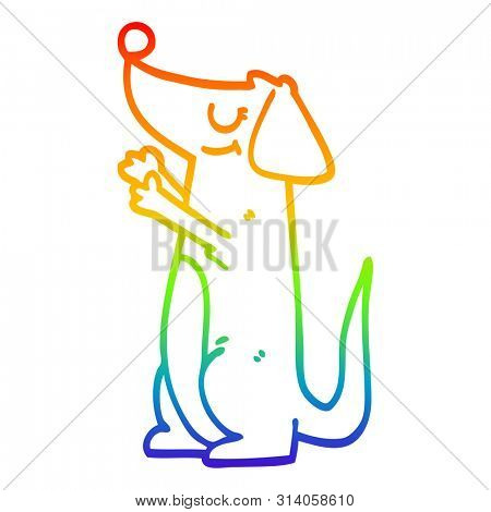 rainbow gradient line drawing of a cartoon well behaved dog poster